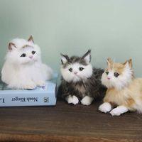 Çocuklar Vizon peluş hayvanlar uyuyan oyuncak kedi bebek gerçekçi simülasyon yaratıcı ev dekorasyon çocuklar yavru modelleri da gerçeğe yakın