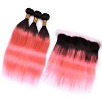 Малазийский человеческих волос Розовый Ombre Кружева Фронтальная Закрытие 13x4 с переплетений # 1B / розовое золото Ombre 3Bundles Straight человеческих волос и лобной 4шт Лота