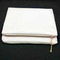 30 unids / lote 7x10in en blanco 12 oz de espesor 100% bolsa de maquillaje de lona polivinílica con cremallera de metal de oro rosa para sublimación impresión de calor prensa en blanco bolsa de cosméticos