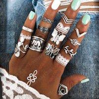 Boho Style Finger Ring Set farfalla sveglia Elephant a forma congiunta Knuckle Nail Statement Ring Set per le donne Ragazze