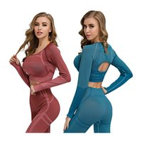 Workout Crop Top Tight Back Hollow Out Yoga Long Sleeve Seam...