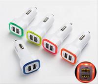 삼성 S5 화웨이 유니버설 전화를위한 LED 듀얼 포트 차량용 충전기 5V 2.1A 전원 어댑터 자동차 휴대용 USB 차량용 충전기 어댑터