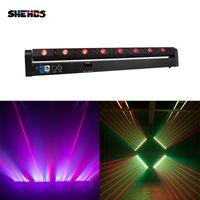 SHEHDS 8 Eyes Moving Head 8x500mW Red Laser + 8x9W RGB Beam Light 638nm DMX512 Powercon J Disco Party Dance Floor Bar Lyre
