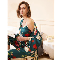 miel Philippine pyjamas simulation automne femme sexy soie glace fronde style japonais pantalon à manches longues costume service à domicile trois pièces