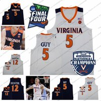 Uomo Virginia Cavaliers # 5 Kyle Guy 12 De'Andre Hunter 2019 Basket NCAA Champions Final Four Basket Jersey Migliore qualità S-3XL
