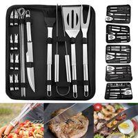 Aço inoxidável Ferramentas para churrasco Set Churrasco Grelhar utensílio Acessórios Camping Outdoor Cooking Tools Kit churrasco Utensílios