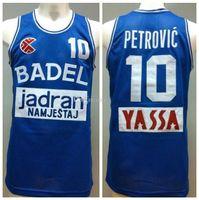Drazen Número Petrovic Blue 10 # 10 Badel KK Cibona BalonCesto Retro Basquete Jersey Mens Costume Personalizado Qualquer Número Nome Jerseys