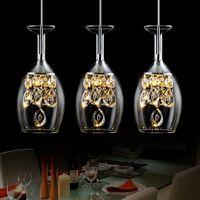 Modern Kristal Şarap Gözlük Bar Avize Tavan Işık Sarkıt Lambası LED Aydınlatma Asılı Lamba LED Yemek Odası Oturma Odası Aydınlatma Armatürü