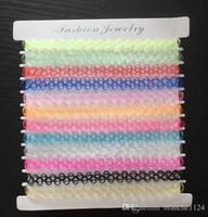 12 unids set estilo simple transparente collar de colores gargantillas para mujeres retro tejido imitación tatuaje Fishline collares al por mayor