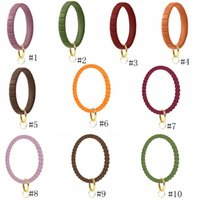 Silikon-Armband Keychain Handgelenk Schlüsselanhänger runder Kreis Twist-Armband-Schlüsselring-Schlüssel-Halter für Frau Handgelenk-Bügel-Armbänder GGA3492-2