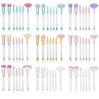 Set di pennelli per trucco trasparente con diamanti Set di pennelli per polvere per labbra Eyeliner Set di pennelli per fondotinta con pvc 7Pcs / set RRA1280