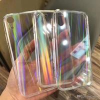 Capas de laser do arco-íris do gradiente para iphone x xs max XR transparente para iphone 11 XR 6 6S 7 8 mais tampas acrílicas claras