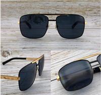 Fashion Designer Sunglasses Metal Square Quadrato Two-Color Cornice classica Uomo Retro Protezione da esterno UV400 Eyewear Top Quality con Arancione Case1080