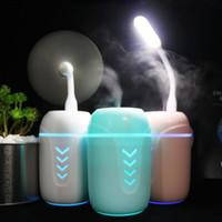 3 في 1 رائحة 200ml في تنقية الضروري النفط الناشر بالموجات فوق الصوتية الهواء المرطب مع LED ضوء مروحة USB للالمكتب أو المنزل