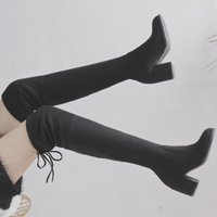 ffe2cd60fe1b New Arrival. 2018 New Flock Leather Women Over The Knee Boots Lace Up Sexy  High Heels Autumn Woman Shoes Winter Women Boots Size ...