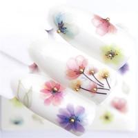 1 قطعة شفافة اللون زهرة نقل المياه ملصقا مسمار الفن الشارات diy الأزياء الأغطية نصائح أدوات مانيكير
