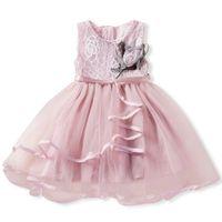 Neue Ankunfts-Sommer-UK-Kleinkind-Baby-Sleeveless Kleidung Spitzenkleid kleine Mädchen Blumen-Partei-Abendkleider Mehrfarbengroß-