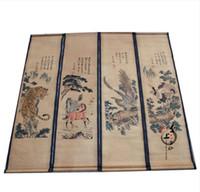 Murales cinesi di pittura di paesaggio di calligrafia antica e pittura calligrafia Feng Shui quattro schermo