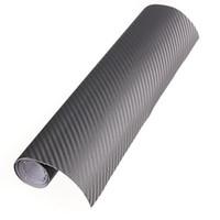 30x152cm 3D Carbon Fibre vinyle Wrap Film de voiture de véhicule Feuille d'autocollant Rouleau - gris clair