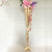 Flowers Vase Wedding Table Centerpiece Event Road Lead Gold Metal Vases Flower Holders Party Decoration 10 PCS   lot