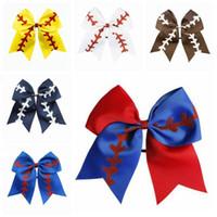 Swallowtail Ponytail Hair Hair Holders Drużyna Softball Drużyna Baseball Cheer Łuki Kids Rugby Bow Cheerleadeading Girl Hair Band Akcesoria 8 cali Czyq6299