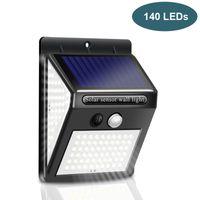 Lampade solari LED Lighting esterna 140 LED Pannelli solari Potenza PIR Sensore di movimento PIR Sensore impermeabile LED Giardino Lampada da parete luminosa in magazzino