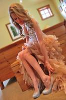 Hi-Lo rosa 2019 Vestidos de baile com espartilho Corpete Querida Vestidos Sexy curto Vestidos de festa de formatura Cristais Informal Vestidos de noiva