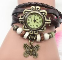 Women watch Butterfly Pendant bracelet watches lady personality vintage Beads Rope Weave leather Strap Alloy tag wristwatch