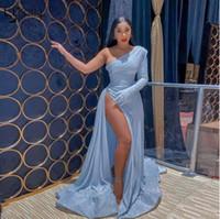 Новое поступление Baby Blue Sexy Reflectiv Prom Transhires One Bey Skysed High Side Split ruffles Prom Press Formate Press вечерние платья