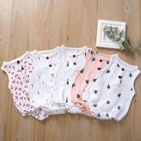 5 couleurs Nouveau-né Baby Romper avec Bouton Jumpsuit d'été Cerise Cactus Imprimé bébé fille Princess OneSie Body Vêtements