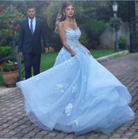 Abiti da ballo blu chiaro abiti Quinceanera Abiti 2020 Sheer Neck Shackless Appliques Prom Party Gowns Sweet 16 Abito da compleanno Vestido de 15 ANOS