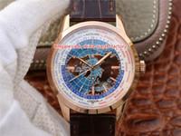 2 Estilo Hot Selling Melhor Qualidade 41.6mm Geofísico Tempo universal 8102520 8108420 Cal.772 Movimento Mecânica Mens Automático Assista Relógios