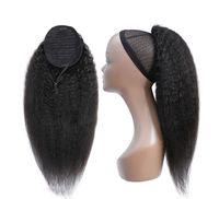 Kinky droite Ponytail cheveux humains Remy Brésil 1 Piece Ponytail Drawstring clip en extensions de cheveux 1B poney queue