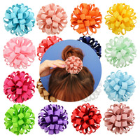 Kinderen bloem haar boog clip loopy lint bal kleur gemengde lus bal voor meisjes baby kind haaraccessoires HD813