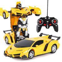 Hasar İadesi 2in1 RC Araba Sporları Araba Dönüşüm Robotlar Modelleri Uzaktan Kumanda Deformasyonu RC Mücadele Oyuncak Çocuk Hediye11