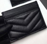 2020 nouvelle mode carte Détenteurs femme caviar mini porte-monnaie concepteur couleur pure cuir véritable texture Pebble luxe porte-monnaie noir avec boîte