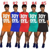 2020 neuesten Sommer-Frauen-T-Shirt-Kleid Normallack loser Minirock Junge Bye Letters Druck O-Ansatz Kleider Sport kurzärmeliges Kleid D6906