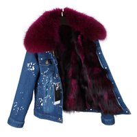 Fox furs Liner removable darkblue jeans jacket for Ladies co...