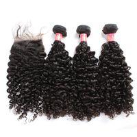 Пакеты волос Bella Hair® с закрытием Бразильские девственницы вьющиеся человеческие волосы натуральные цветные наращивания Джулиеч