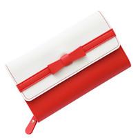 Frische Frauen Bowknot PU-Leder-Mappen Reißverschluss Lange Telefon Purse großer Kapazitäts-Kartenhalter mit Ausweiskurz weiblich Clutch Bag