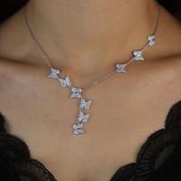 Bella sveglia mini fascino della CZ Il micro farfalla color oro le donne di moda cz pendenti neckalce ragazza dolce gioielli y collane
