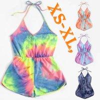 Sexy Trajes de diseñador de las mujeres del verano ropa de la playa del mono de Tie-dye Venta nuevo estilo del escote redondo de los mamelucos Shorts S-XL Capris caliente