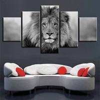 Imágenes de lienzo Arte de la pared modular 5 piezas Animal León Pintura Sala de estar Impresiones HD Cartel en blanco y negro Decoración para el hogar (Sin marco)