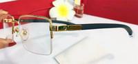 الجملة جديد مصمم الأزياء النظارات البصرية 8101025 الرجعية المعادن نصف إطار عدسة شفافة الساقين الخشب أسلوب بسيط الأعمال أعلى جودة