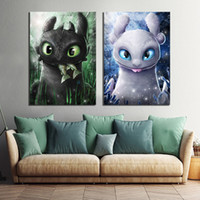 2 piece Pinturas Cuadros Arte de la historieta digital dragón El cartel de película Hidden World lona de arte de decoración de la pared