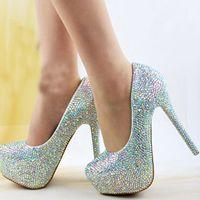 2019 Zapatos de novia de boda AB Crystal Bling Bling Zapatos de Cenicienta Increíbles zapatos de tacón alto de novia Bombas de fiesta de noche Tamaño más grande 12