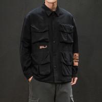 Мужские повседневные рубашки 2021 Ууюк осень / зима японские мешковатые, длинные рукава, отворотный, многокартырный, сплошной печать рубашки человека Homme хлопок