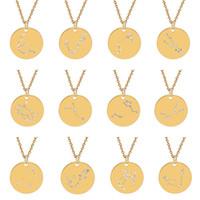 Neue 12 Sternzeichen Halsketten Edelstahl Münze Kristall Diamant Konstellation Charme Gold Silber Kette Für Frauen Modeschmuck