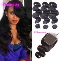 Peruvian Unprocessed Human Hair Body Wave 3 Bundles With 6x6...