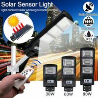 30W 60W 90W Solar Street Light Light Radar Motion Sensor impermeabile IP67 Lampada da parete Lampada da parete all'aperto Lampada da giardino con palo